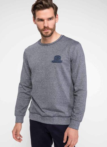 DeFacto Pusula Baskılı Sweatshirt Mavi